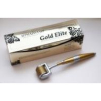 Дермароллер Мезороллер Gold Elite титановые позолоченные микроиглы 1,0мм лазерная заточка / GoldMT10+