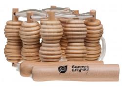 Массажер Банные штучки деревянный ленточный для спины 100*7*3см